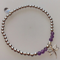 Sterling Silver Dragonfly Beaded Charm Stretch Bracelet with Amethyst Beads