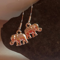 Silver plated elephant earrings with Sterling Silver earring fittings