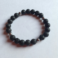 Volcanic lava bead and hematite mens Stretch Bracelet