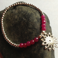 Sterling Silver Bead bracelet with Mandala Charm and pink Jade beads