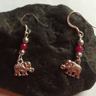 Sterling Silver and Pink Jade Elephant drop dangle earrings