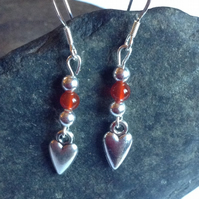 Heart Dangle Earrings with Sterling Silver Fittings & Beads, Red Carnelian