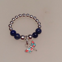 Sterling silver & lapis lazuli Dragonfly Charm Ring
