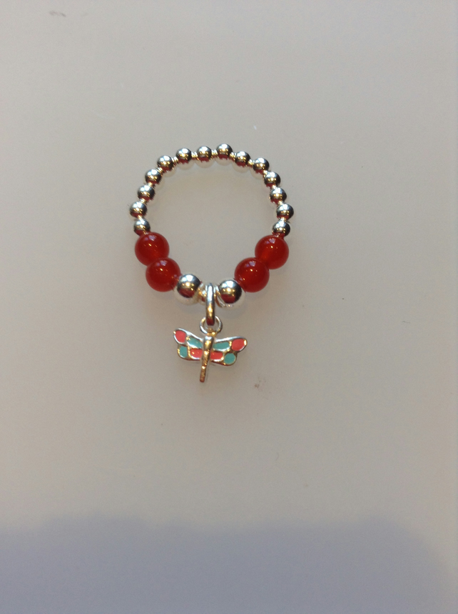 Sterling silver and carnelian Enamelled Dragonfly ring, stretch ring
