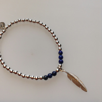 Sterling silver beaded feather charm bracelet with Lapis Lazuli beads