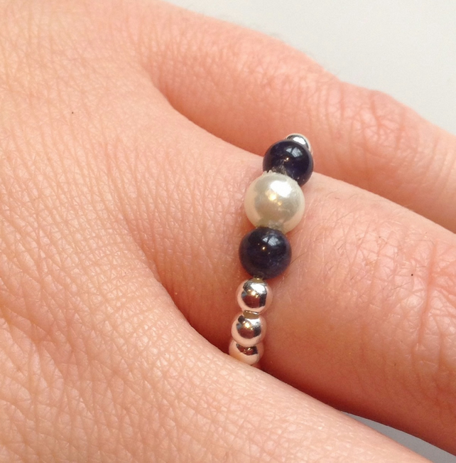 Sterling silver, Sodalite and mother of Pearl Stacking Stretch ring