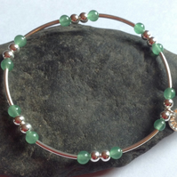 Green Aventurine and Sterling Silver dainty stacking Bracelet,