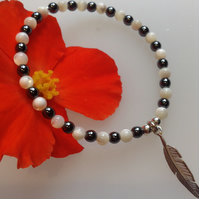 Mother of Pearl and Hematite Feather Charm Bracelet
