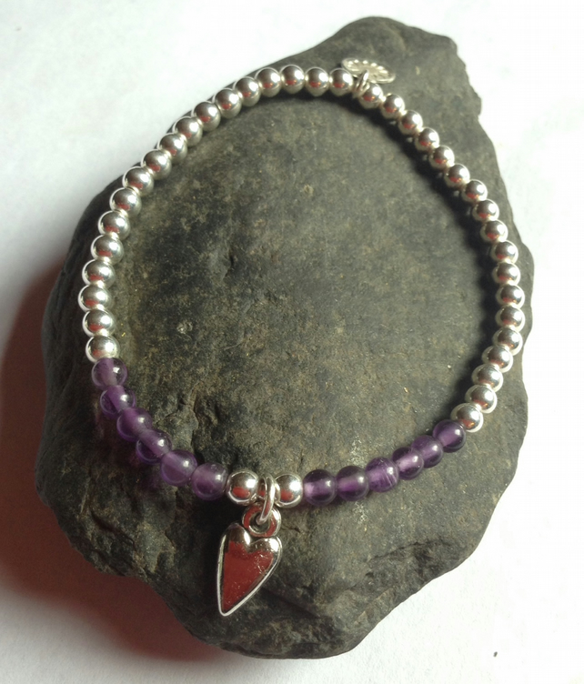 Sterling Silver and Amethyst Love Heart Charm Bead Bracelet - I Give my Heart