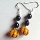 Halloween Pumpkin Earrings, novelty earrings, fun earrings, black and orange
