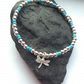 Dragonfly Charm Bracelet in Sterling Silver with Turquoise Beads, stacking