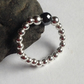 Sterling Silver Bead Ring with faceted black Obsidian Centre Bead, Stacking Ring