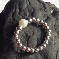 Sterling silver and pearl bead ring ideal for stacking, stretch infinity ring