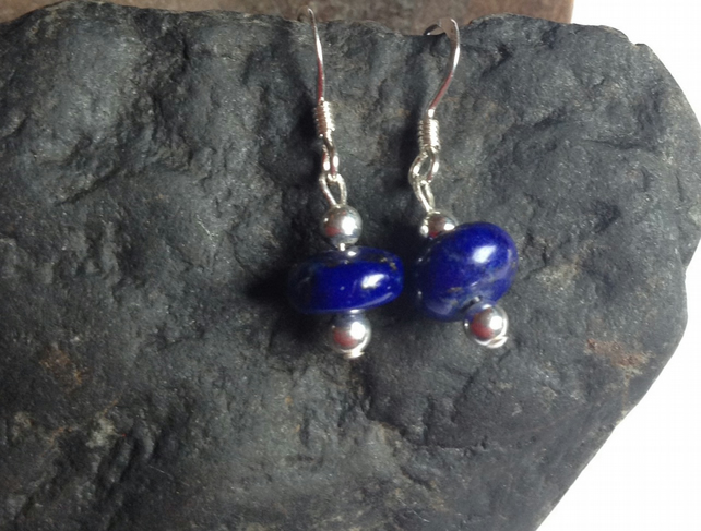 Lapis Lazuli Earrings with Sterling Silver Beads and Ear Wires