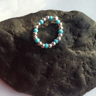Sterling Silver Ring with Turquoise Czech Beads, Stacking Ring, Handmade Ring