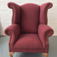 Luxurious Handmade Queen Anne Wingback Chair