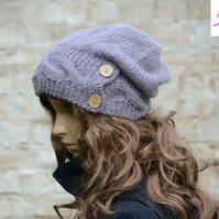 Button Band Hat Cable Band Slouchy Hat Womens Hand Knitted Hat Lilac