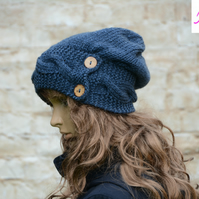 Button Band Hat Cable Band Slouchy Hat Womens Hand Knitted Hat Blue