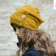 Button Band Hat Cable Band Slouchy Hat Womens Hand Knitted Hat Mustard Gold