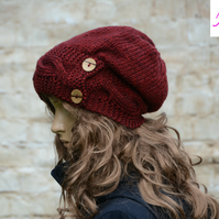 Button Band Hat Cable Band Slouchy Hat Womens Hand Knitted Hat Burgundy