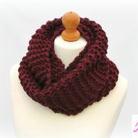 Knitted Infinity Scarf Loop Scarf Womens Soft Scarf Womens Cowl Burgundy