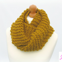 Knitted Infinity Scarf Loop Scarf Womens Soft Scarf Womens Cowl Mustard Gold