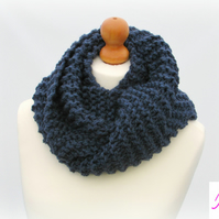 Knitted Infinity Scarf Loop Scarf Womens Soft Scarf Womens Cowl Blue