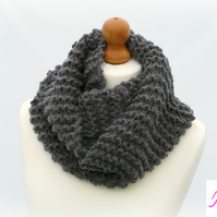 Knitted Infinity Scarf Loop Scarf Womens Soft Scarf Womens Cowl Dark Grey
