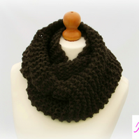 Knitted Infinity Scarf Loop Scarf Womens Soft Scarf Womens Cowl Brown