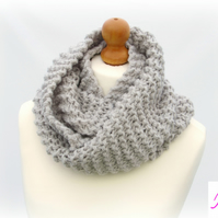 Knitted Infinity Scarf Loop Scarf Womens Soft Scarf Womens Cowl Light Grey