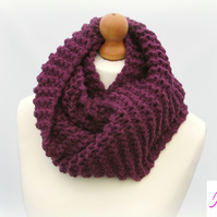 Knitted Infinity Scarf Loop Scarf Womens Soft Scarf Womens Cowl Plum