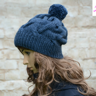 Bobble Hat Cable Knitted Hat Pom Pom Hat Mens Womens Blue