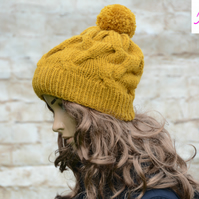 Bobble Hat Cable Knitted Hat Pom Pom Hat Mens Womens Mustard Gold