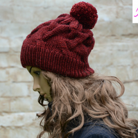 Bobble Hat Cable Knitted Hat Pom Pom Hat Mens Womens Burgundy
