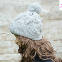 Bobble Hat Cable Knitted Hat Pom Pom Hat Mens Womens Light Grey