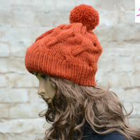 Bobble Hat Cable Knitted Hat Pom Pom Hat Mens Womens Orange