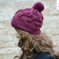 Bobble Hat Cable Knitted Hat Pom Pom Hat Mens Womens Plum