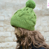 Bobble Hat Cable Knitted Hat Pom Pom Hat Mens Womens Green