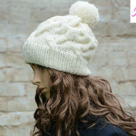 Bobble Hat Cable Knitted Hat Pom Pom Hat Mens Womens Cream