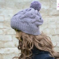Bobble Hat Cable Knitted Hat Pom Pom Hat Mens Womens Lilac