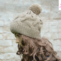 Bobble Hat Cable Knitted Hat Pom Pom Hat Mens Womens Beige - Khaki