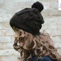 Bobble Hat Cable Knitted Hat Pom Pom Hat Mens Womens Brown