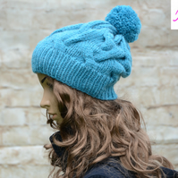 Bobble Hat Cable Knitted Hat Pom Pom Hat Mens Womens Turquoise