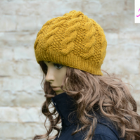 Knitted Cable Beanie Hat Adult Unisex Alpaca Blend Mustard Gold