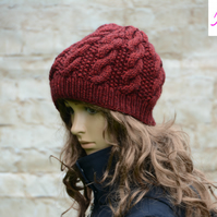Knitted Cable Beanie Hat Adult Unisex Alpaca Blend Burgundy