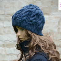Knitted Cable Beanie Hat Adult Unisex Alpaca Blend Blue