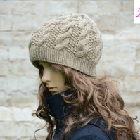 Knitted Cable Beanie Hat Adult Unisex Alpaca Blend Beige - Khaki