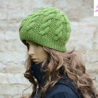 Knitted Cable Beanie Hat Adult Unisex Alpaca Blend Green