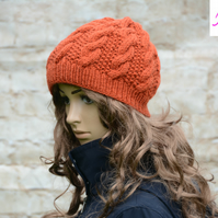 Knitted Cable Beanie Hat Adult Unisex Alpaca Blend Orange