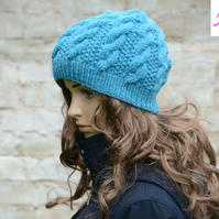 Knitted Cable Beanie Hat Adult Unisex Alpaca Blend Turquoise